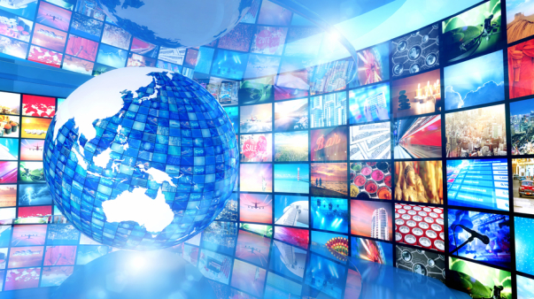 Global enterntainment: Earth surrounded by television videos, Asia Pacific region
