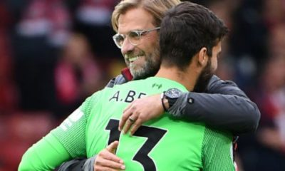Jurgen Klopp and Alisson Becker