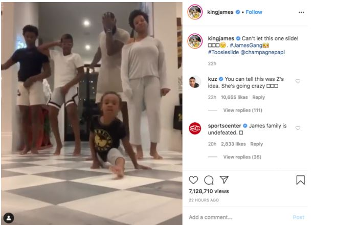 Lebron James and family dance