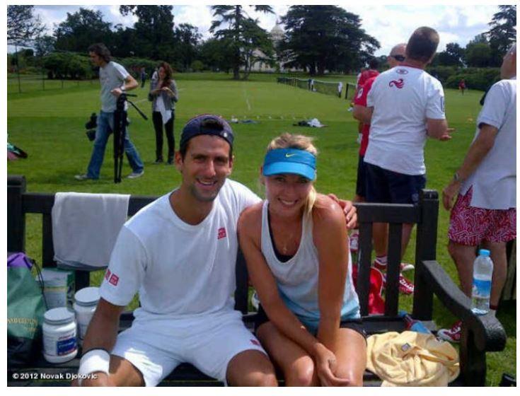 Maria Sharapova and Novak Djokovic sit