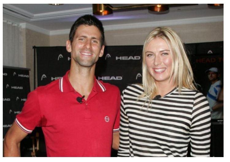 Maria Sharapova and Novak Djokovic smile