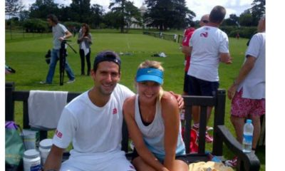 Maria Sharapova and novak Djokovic sitting