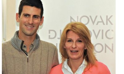 Novak Djokovic with mom