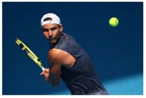 Rafael Nadal training hard
