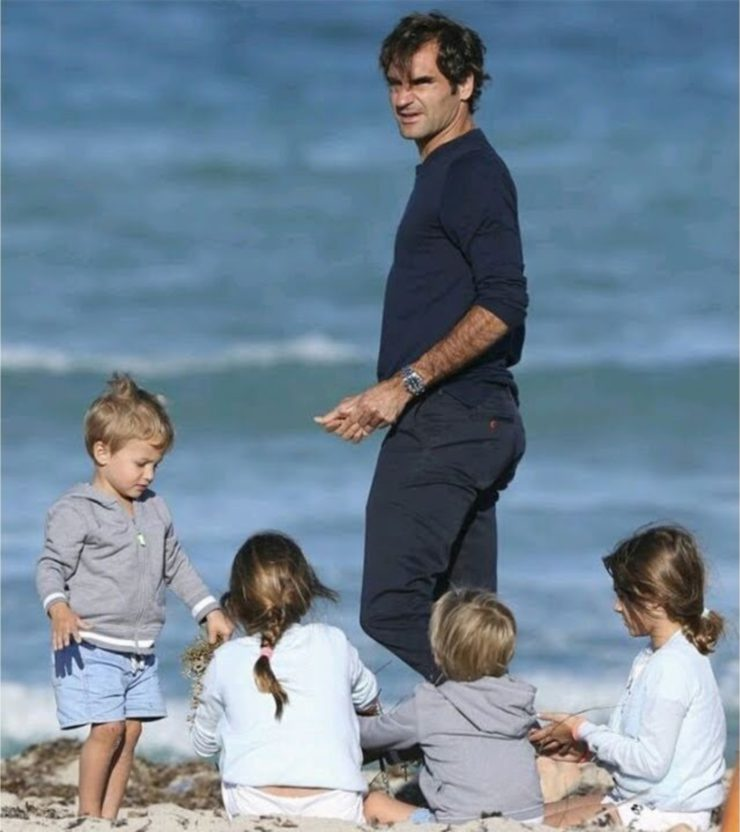 Roger Federer and the kids