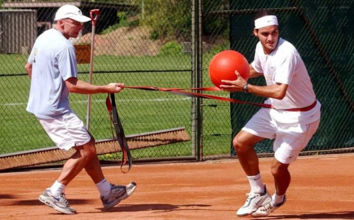 Federer in training