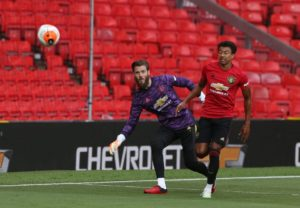 David De Gea and Jesse Lingard also played in the game behind closed doors