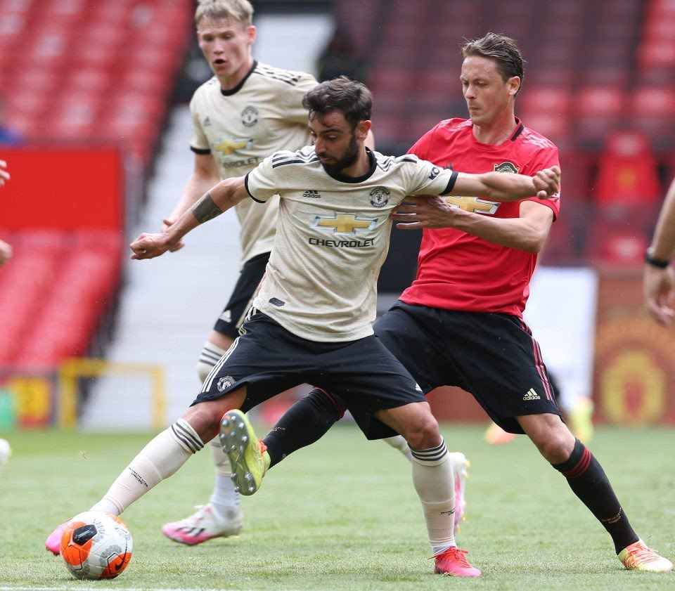Bruno Fernandes and Nemanja Matic in action as Man Utd played an intra-squad friendly at Old Trafford