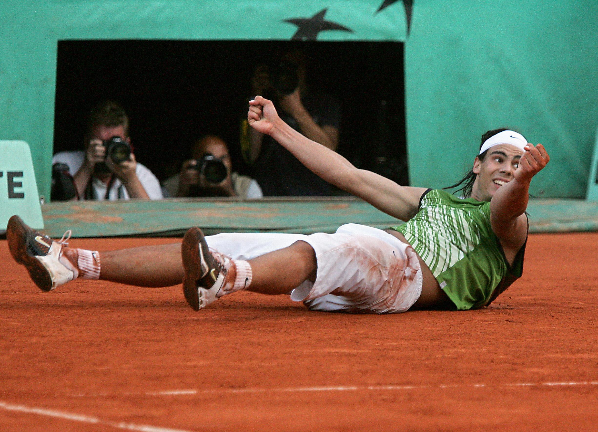 Spanish Rafael Nadal jubilates after win