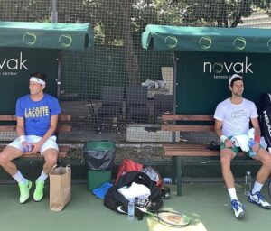 Djokovic was pictured at the Novak Tennis Centre in Belgrade along with Filip Krajinovic