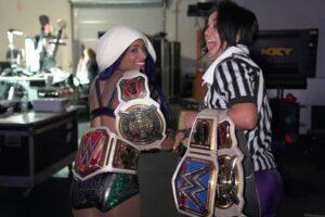 Sasha bank and Bayley celebration win over Asuka
