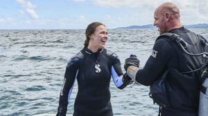 Rousey and Browne walk away from the 2018 Shark Week Read More: https://www.looper.com/236517/how-ronda-rousey-impressed-dive-instructor-paul-de-gelder-during-shark-week-exclusive/?utm_campaign=clip