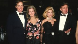 Robert Trump (L) with his ex-wife, Blaine Trump, with Ivana Trump and Donald Trump when they were younger