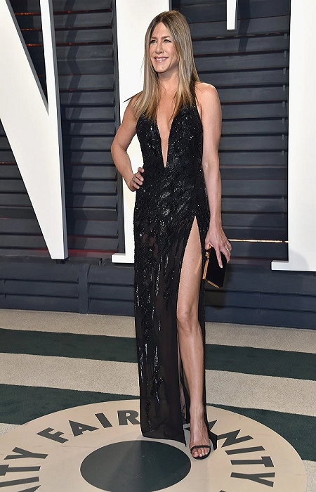 Jennifer Aniston dressed in a spilt gown