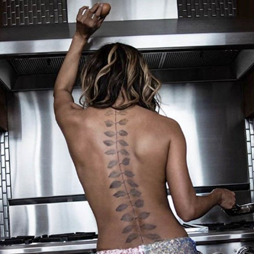 Halle berry back tattoo